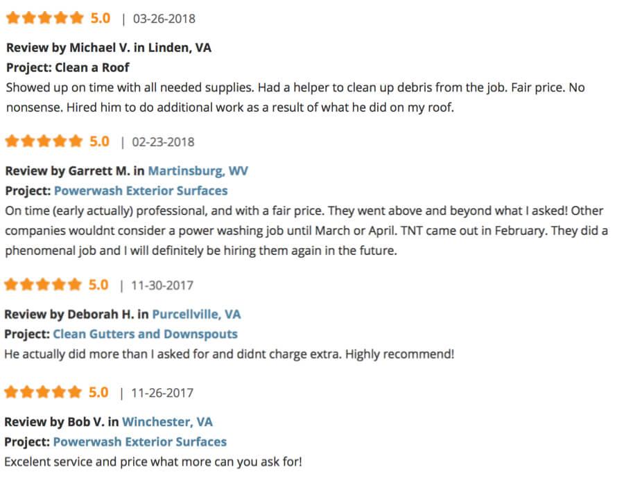 TNT Power Washing Reviews